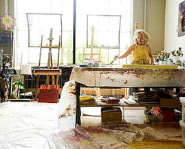 Charlotte works in her studio